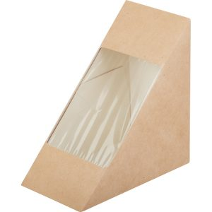 Posuda papirnata za sendvić ECO SANDWICH 70 130x130x70 mm sa prozorom, Kraft (50 kom/pak)