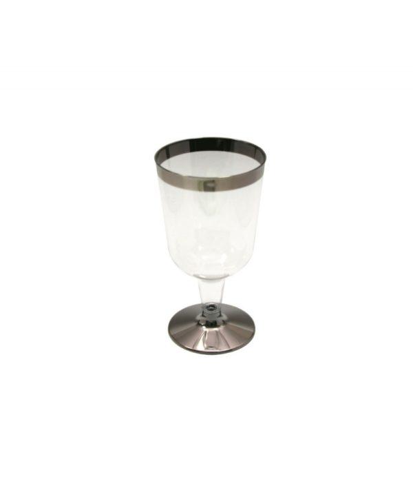 Čaša Tambien za vino, 180 ml providna sa srebrnom prugom, 6 kom. u pakovanju