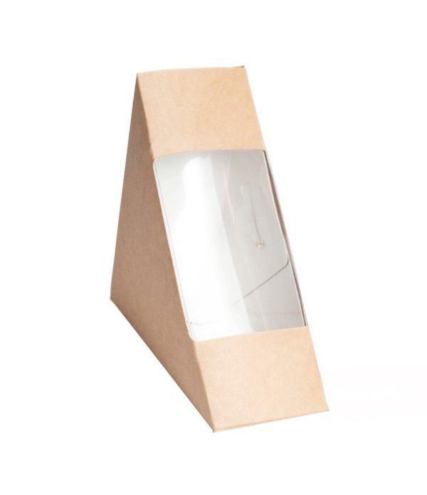 Posuda papirnata za sendvić ECO SANDWICH 40 130x130x40 mm sa prozorom, Kraft