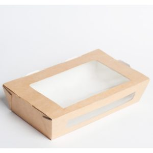 Posuda papirnata sa prozorom ECO salad 600 150x115x50mm 600ml, kraft (350 kom/pak)