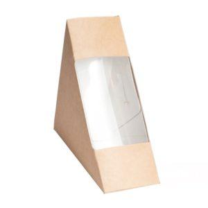 Posuda papirnata za sendvić ECO SANDWICH 60 130x130x60 mm sa prozorom, Kraft (50 kom/pak)