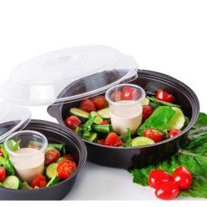 Posuda za salatu sa poklopcem PS 850 ml crna, 400 kom (komplet)