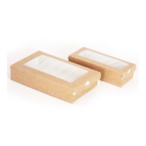 Posuda papirnata — kutija sa prozorom ECO CASE 500 170х70х40 mm 500 ml, kraft (400 kom/pak)