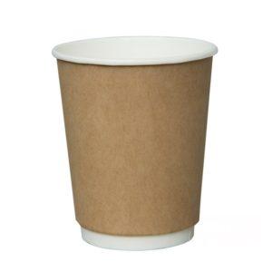 Čaša 250 ml papirnata d=80mm, dvoslojna, kraft, za topla pića (25 kom/pak)