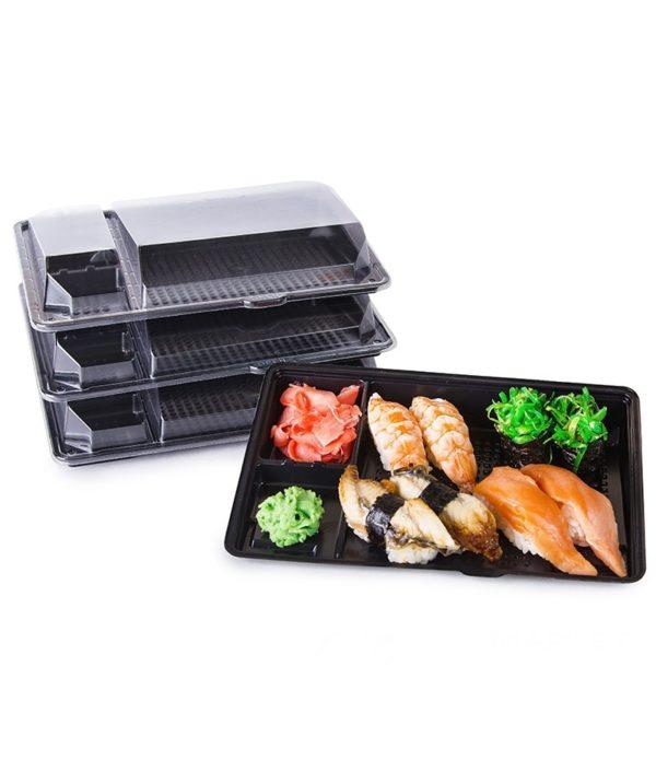 Posuda za sushi sa poklopcem PS 201 x 125 x 36 mm crna, 540 kom (komplet)