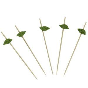 Bockalica drvena za kanapee Zeleni listić 12cm 100 kom/pak