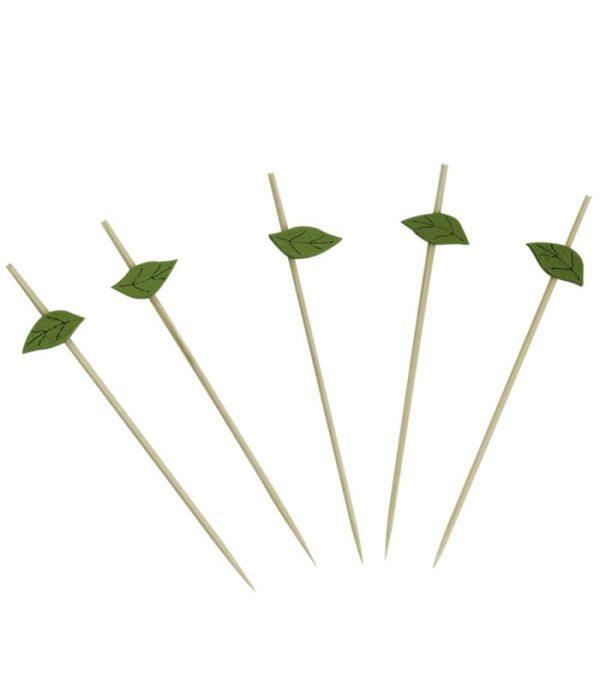 Bockalica drvena za kanapee Zeleni listić 12 cm 100 kom/pak