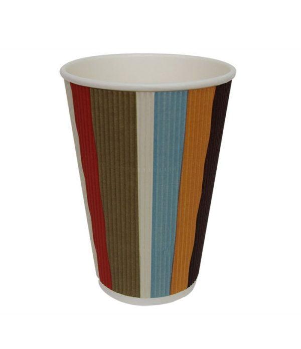 Papirna čaša 3-sl 410 ml d=90 mm šarene trake (25 kom/pak)