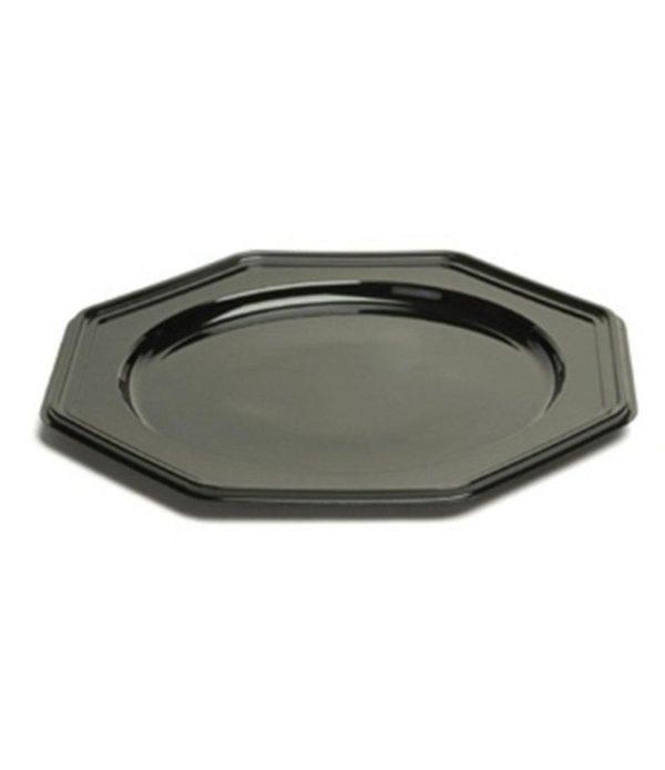 Poslužaonik osmerougaoni PET Sabert d=30 cm crni (10 kom/pak)