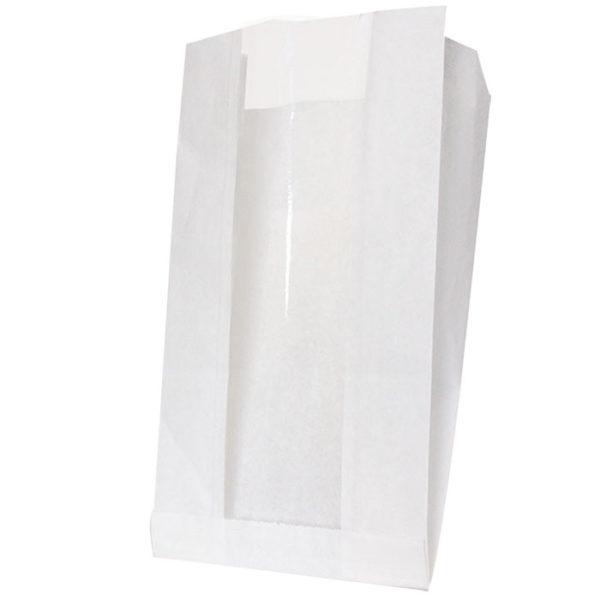Papirna kesa sa prozorom 200(100)x60x300 mm bijela (1000 kom/pak)