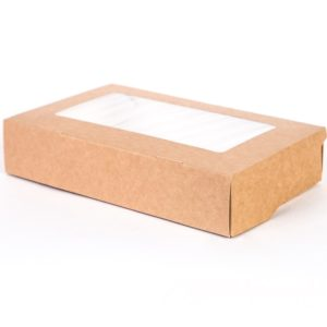Papirnata posodica z oknom ECO TABOX 1000 200x120x40 mm 1000 ml, кraft