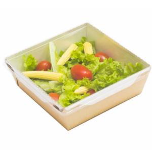 Papirnata posodica s prozornim pokrovom za solato in tople jedi ECO OpSalad 150х150х50mm 900 ml, кraft