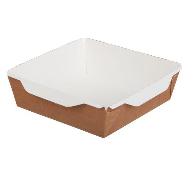 Kartonska posuda za salate i topla jela sa providnim poklopcem ECO OpSalad 900 ml 150х150х50 mm kraft (150 kom/pak)