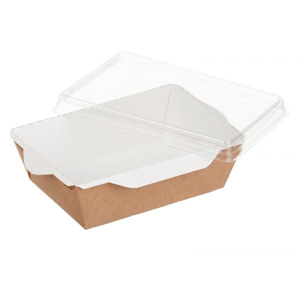 Kartonska posuda za salate i topla jela sa providnim poklopcem ECO OpSalad 400 ml 120х85х45 mm kraft (400 kom/pak)