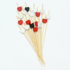 Leseno nabodalo za kanapeje Srce rdeče, črno, belo 12cm. 100/1zavoj