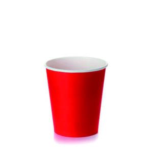 Čaša papirnata jednoslojna 250 (273) ml d=80 mm za tople napitke, crvena (50 kom/pak)