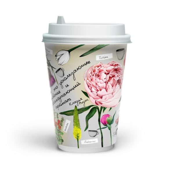 Čaša papirnata dvoslojna 400 (480) ml d=90mm Fleur di cafe (16 kom/pak)