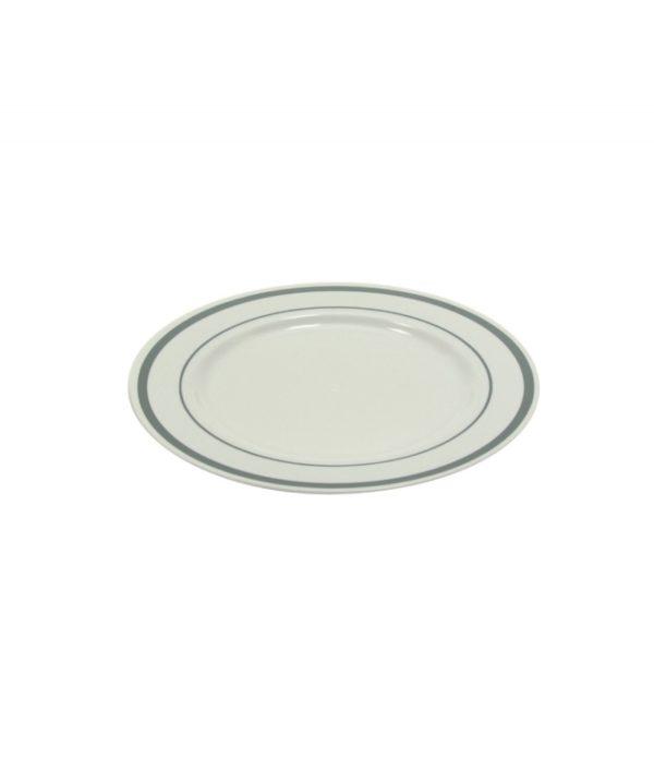 Tanjir sa srebrnom ivicom PS TaMbien d=190 mm bijeli 10 kom/pak