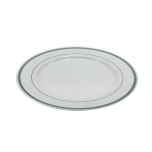 Tanjir plastični TaMbien sa srebrnom ivicom, beli d=230 mm 10 kos/pak