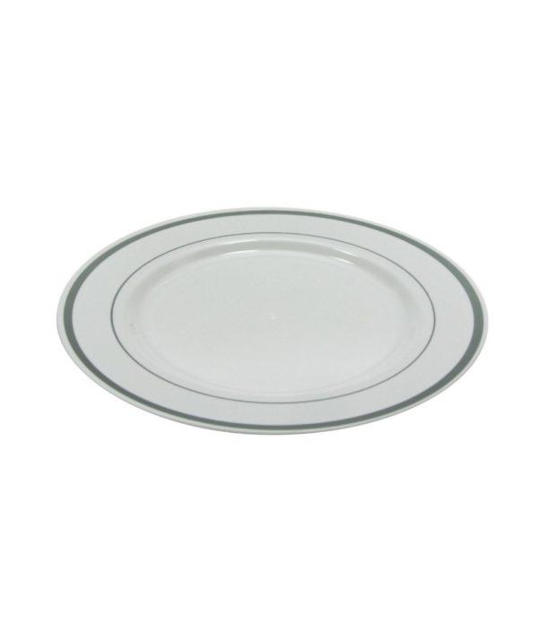 Tanjir sa srebrnom ivicom PS TaMbien d=230 mm bijeli 10 kom/pak