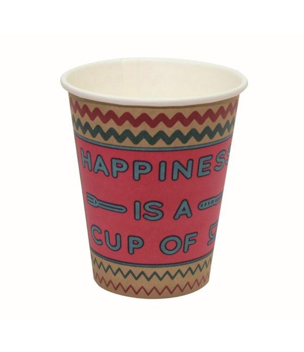 Papirna čaša 1-sl 300 ml d=90 mm Happy Life kraft (50 kom/pak)
