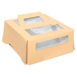Kartonska kutija za tortu s prozorom sa ručkom 260x260x130 mm do 1,5 kg (20 kom/pak)