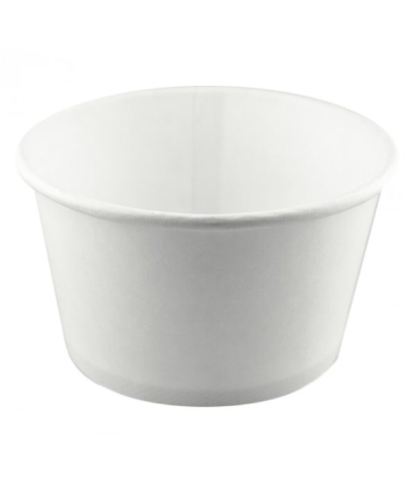 Papirnata posuda za toplu hranu sa poklopcem 500 ml, d=121mm h=72mm, bijela, 500 kom (komplet)
