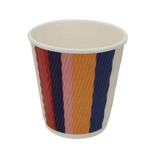 Papirnat kozarec 250 ml troslojen valovit, d=80 mm , barvne črte