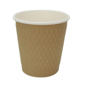 Papirnat kozarec 250 ml troslojen valovit, d=80 mm, kvadrat zlati kraft
