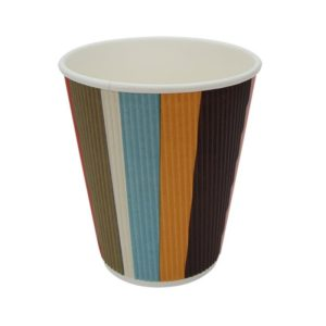 Čaša papirnata troslojna 310 (410) ml d=90mm valovita, raznobojne pruge