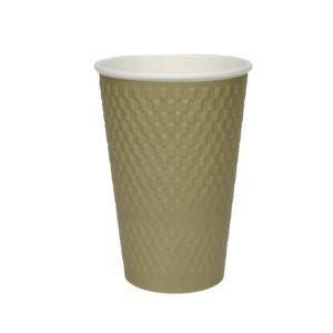 Čaša papirnata troslojna 410 (510) ml d=90mm valovita, cigla zlatna kraft