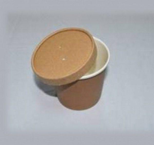 Posuda papirnata za supu ECO SOUP  d-75 mm, h-100 mm, 440 ml sa poklopcem, kraft (250 kom/pak)