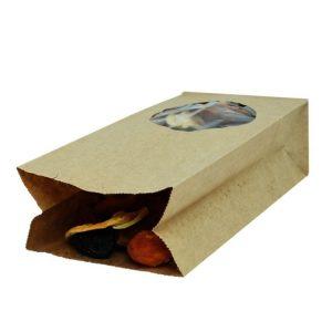 Papirna kesa pravougaone dno 200х100х60 mm kraft prozor okrugli 7 (500 kom/pak)
