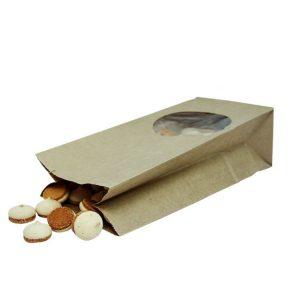 Papirna kesa pravougaone dno 250х120х80 mm kraft prozor okrugli 9 (500 kom/pak)