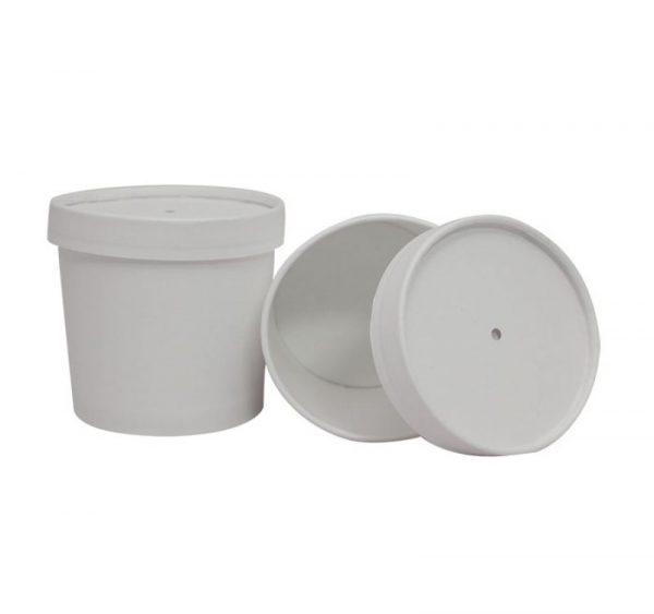 Kartonska posuda za supu 345 ml d=95 mm h=82 mm dupli poklopac bijela (336 kom/pak)