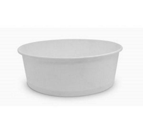 Posuda papirnata 750 ml d=150mm, h=60mm beli za salatu