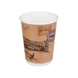 Čaša 300 ml papirnata d=90mm dvoslojna Gradovi svijeta Kraft (20 kom/pak)