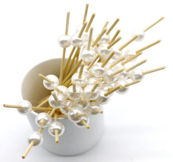 Bockalica od bambusa za kanapee sedefasti biser 12 cm 100 kom/pak