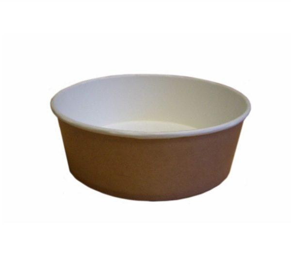 Papirnata posuda, 550 ml, d = 143 mm, h = 52 mm, bijela, kraft, za salatu, 50 kom (komplet)