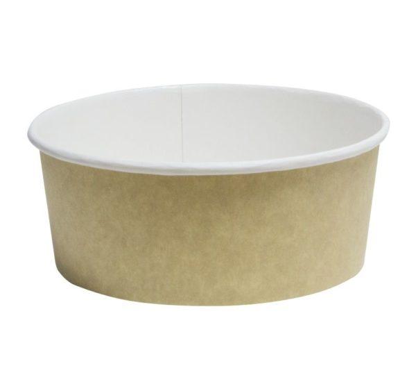 Papirnata posuda sa poklopcem, 750 ml, d = 150 mm, h = 60 mm, kraft, za salatu, 100 kom (komplet)