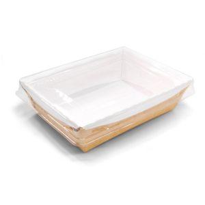 Posuda papirnata Crysatal Box 500 ml sa providnim poklopcem 160x120x45 mm, Kraft (200 kom/pak)