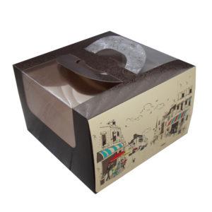Kutija za tortu 250х250х160mm 1,2 kg Randevu s prozorom, s ručkom