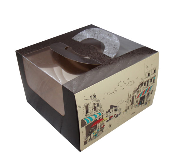 Kutija za tortu 250х250х160mm 1,2 kg Randevu s prozorom, s ručkom (5 kom/pak)