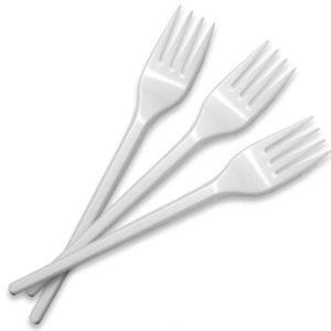 Plastične vilice 16,5 cm, bele (100 kom/pak)