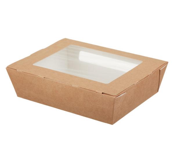 Posuda papirnata sa prozorom ECO salad 1000 190x150x50mm 1000ml, kraft (200 kom/pak)