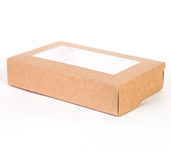 Kartonska kutija s prozorom ECO Tabox 1000 ml 200x120x40 mm kraft (50 kom/pak)