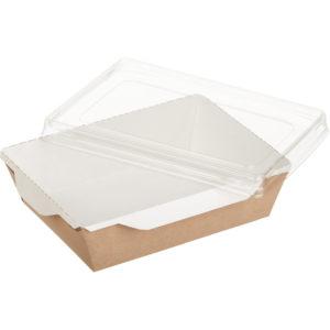 Posuda papirnata za salatu i topla jela sa providnim poklopcem ECO OPSalad 160х120х45 mm 500 ml, kraft (300 kom/pak)