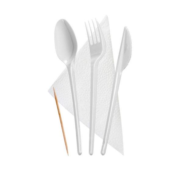 Komplet 5: viljuška, nož, kašika, čačkalice, salvieta (300 kom/pak)