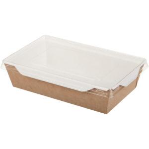 Posuda papirnata za salatu i topla jela sa providnim poklopcem ECO OPSalad 186х106х55 mm 800 ml kraft (200 kom/pak)