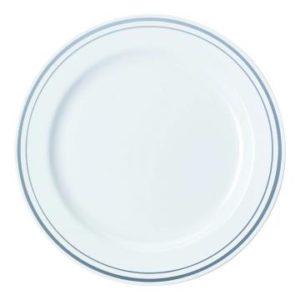 Tanjur Sabert plastični bijeli sa srebrnom bordurom d=23 cm (90 kom/pak)